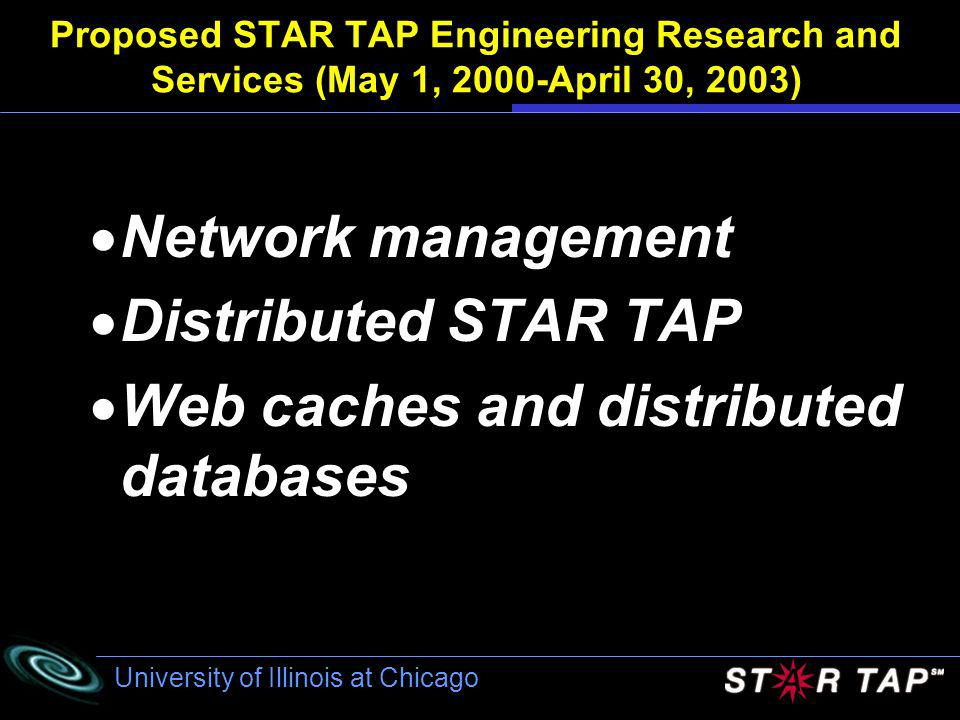 University of Illinois at Chicago Proposed STAR TAP Engineering Research and Services (May 1, 2000-April 30, 2003) Network management Distributed STAR TAP Web caches and distributed databases