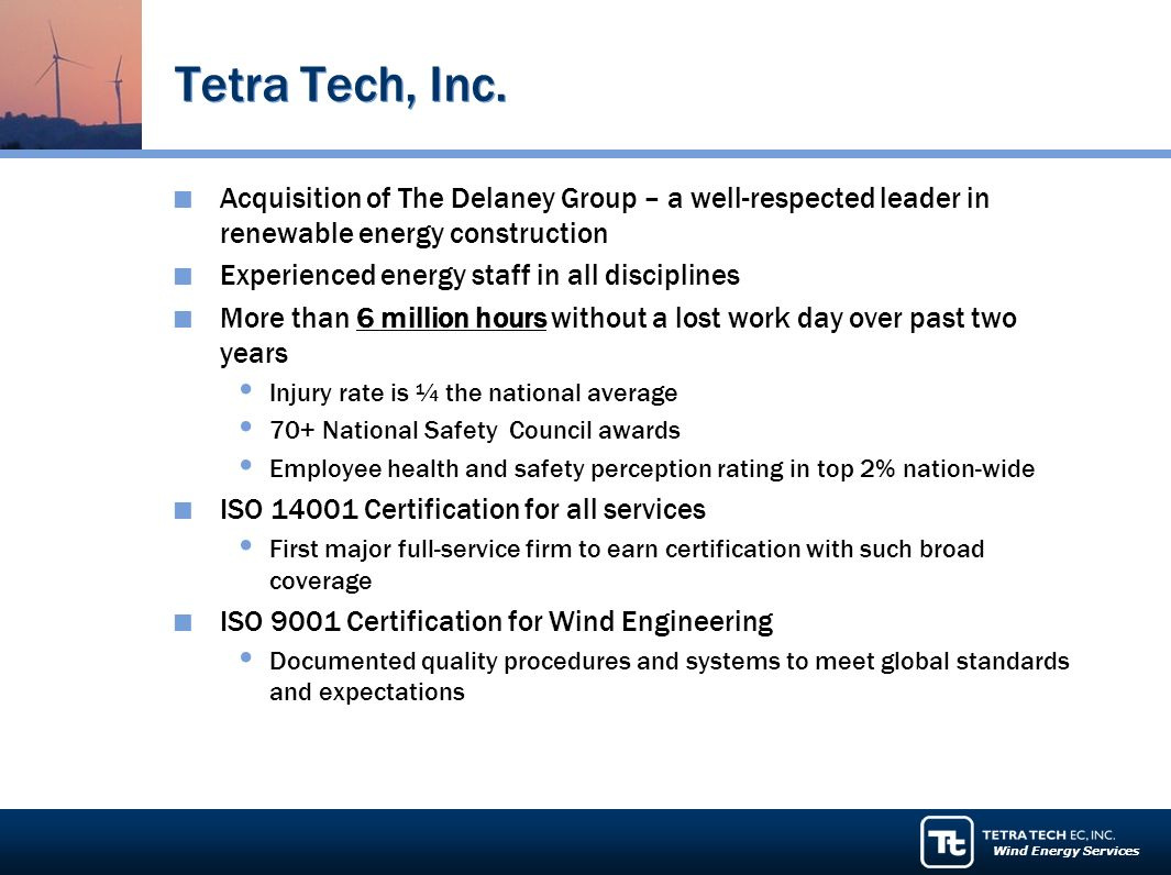 Wind Energy Services Tetra Tech, Inc.