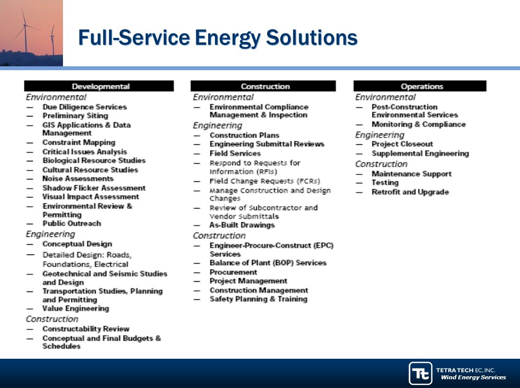Wind Energy Services Full-Service Energy Solutions