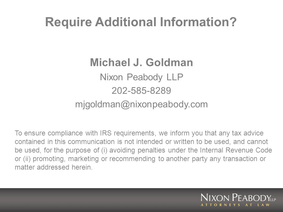 Require Additional Information. Michael J.
