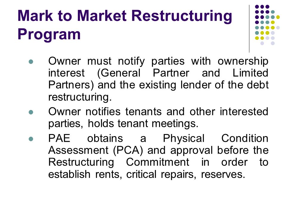 Mark to Market Restructuring Program Owner must notify parties with ownership interest (General Partner and Limited Partners) and the existing lender of the debt restructuring.