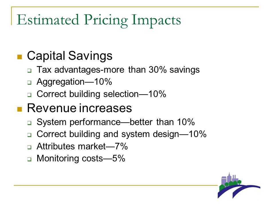 Estimated Pricing Impacts Capital Savings Tax advantages-more than 30% savings Aggregation10% Correct building selection10% Revenue increases System performancebetter than 10% Correct building and system design10% Attributes market7% Monitoring costs5%