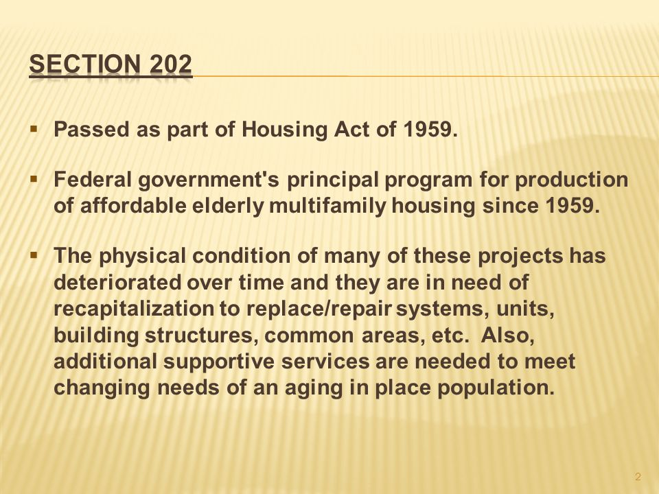 Passed as part of Housing Act of 1959.
