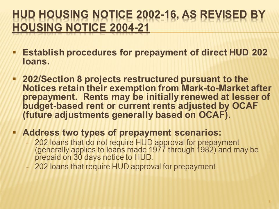 Establish procedures for prepayment of direct HUD 202 loans.