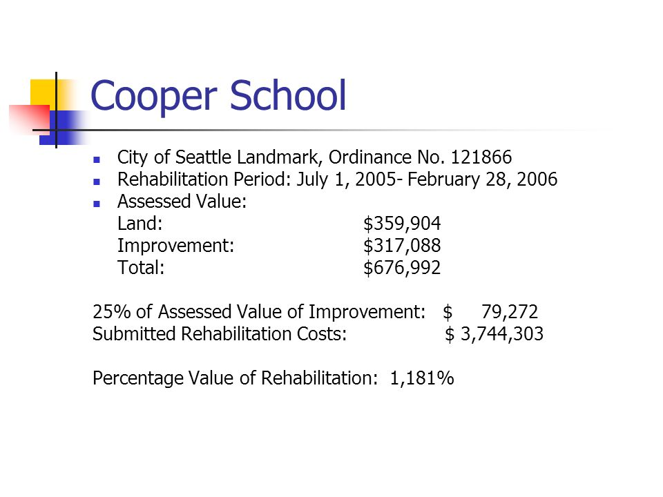 Cooper School City of Seattle Landmark, Ordinance No.