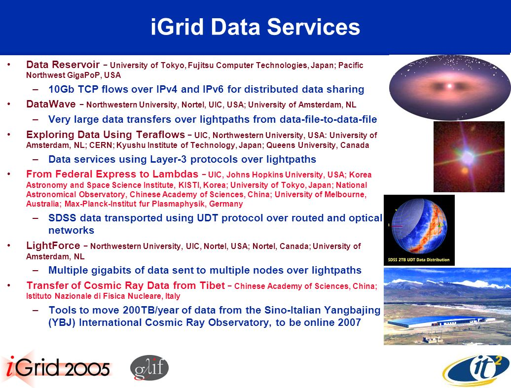 iGrid Data Services Data Reservoir University of Tokyo, Fujitsu Computer Technologies, Japan; Pacific Northwest GigaPoP, USA –10Gb TCP flows over IPv4 and IPv6 for distributed data sharing DataWave Northwestern University, Nortel, UIC, USA; University of Amsterdam, NL –Very large data transfers over lightpaths from data-file-to-data-file Exploring Data Using Teraflows UIC, Northwestern University, USA: University of Amsterdam, NL; CERN; Kyushu Institute of Technology, Japan; Queens University, Canada –Data services using Layer-3 protocols over lightpaths From Federal Express to Lambdas UIC, Johns Hopkins University, USA; Korea Astronomy and Space Science Institute, KISTI, Korea; University of Tokyo, Japan; National Astronomical Observatory, Chinese Academy of Sciences, China; University of Melbourne, Australia; Max-Planck-Institut fur Plasmaphysik, Germany –SDSS data transported using UDT protocol over routed and optical networks LightForce Northwestern University, UIC, Nortel, USA; Nortel, Canada; University of Amsterdam, NL –Multiple gigabits of data sent to multiple nodes over lightpaths Transfer of Cosmic Ray Data from Tibet Chinese Academy of Sciences, China; Istituto Nazionale di Fisica Nucleare, Italy –Tools to move 200TB/year of data from the Sino-Italian Yangbajing (YBJ) International Cosmic Ray Observatory, to be online 2007