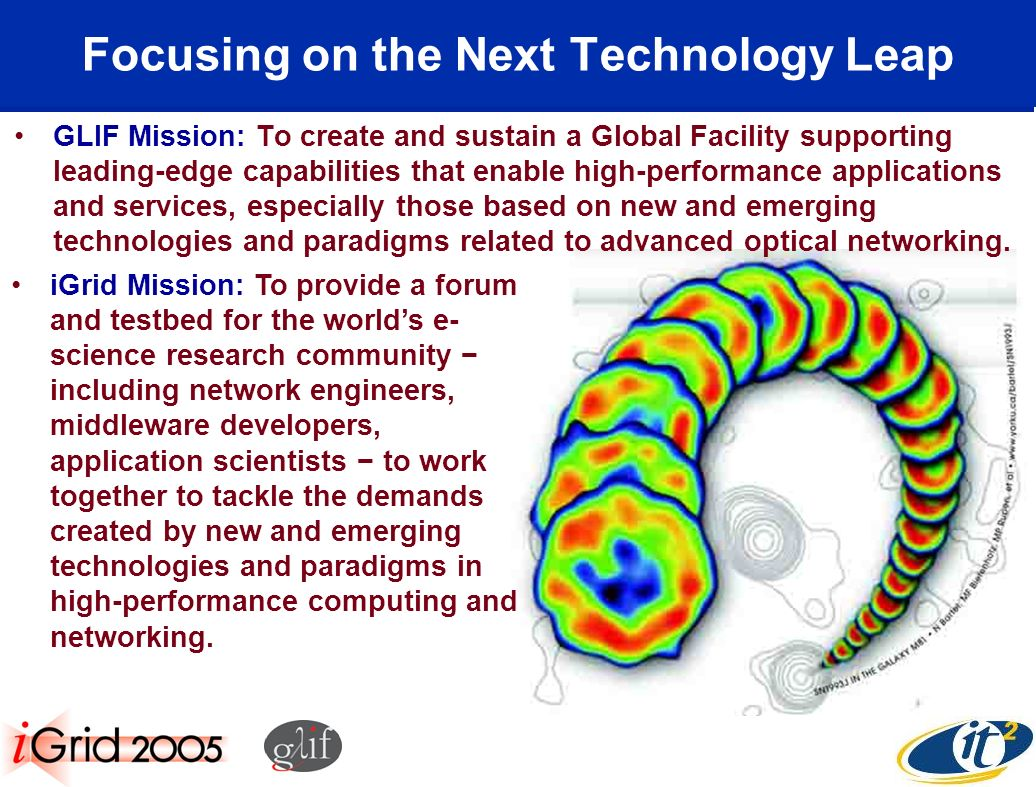 Focusing on the Next Technology Leap GLIF Mission: To create and sustain a Global Facility supporting leading-edge capabilities that enable high-performance applications and services, especially those based on new and emerging technologies and paradigms related to advanced optical networking.