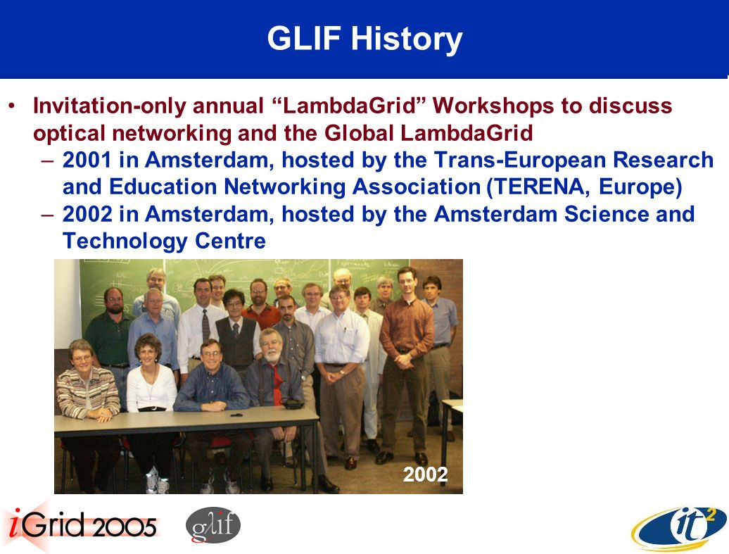 GLIF History Invitation-only annual LambdaGrid Workshops to discuss optical networking and the Global LambdaGrid –2001 in Amsterdam, hosted by the Trans-European Research and Education Networking Association (TERENA, Europe) –2002 in Amsterdam, hosted by the Amsterdam Science and Technology Centre 2002