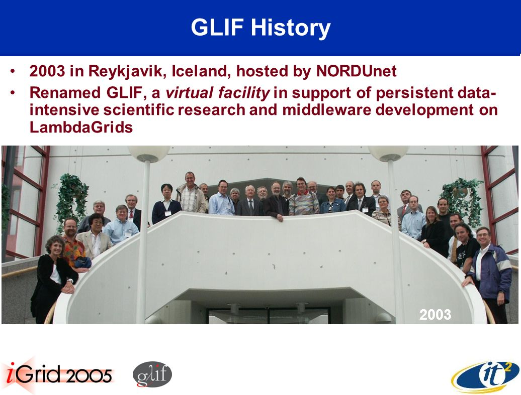 GLIF History 2003 in Reykjavik, Iceland, hosted by NORDUnet Renamed GLIF, a virtual facility in support of persistent data- intensive scientific research and middleware development on LambdaGrids 2003