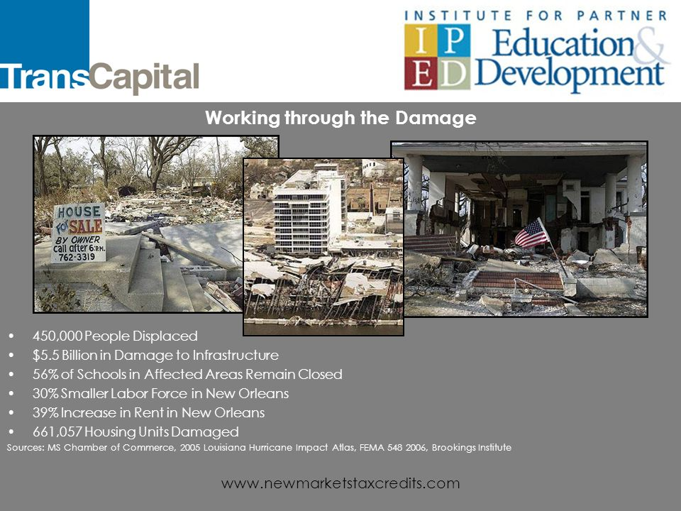 www.newmarketstaxcredits.com Rebuilding Communities After Hurricane Katrina With New Markets Tax Credits James D.