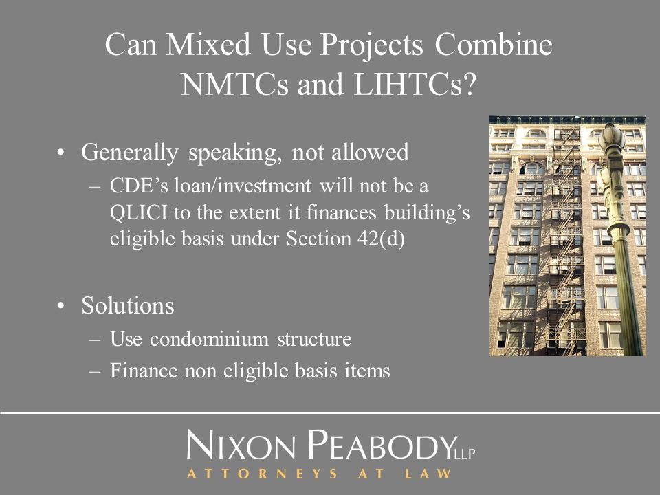 Can Mixed Use Projects Combine NMTCs and LIHTCs.