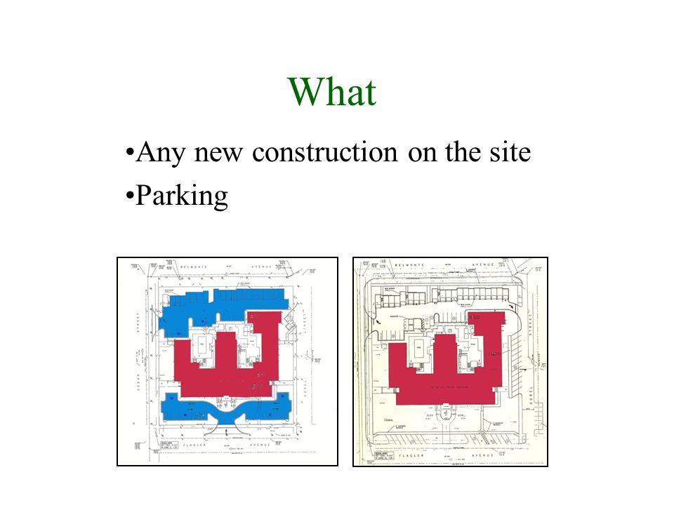 What Any new construction on the site Parking