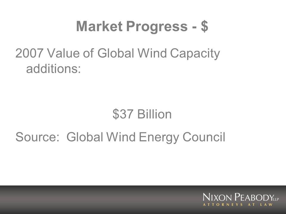Market Progress - $ 2007 Value of Global Wind Capacity additions: $37 Billion Source: Global Wind Energy Council