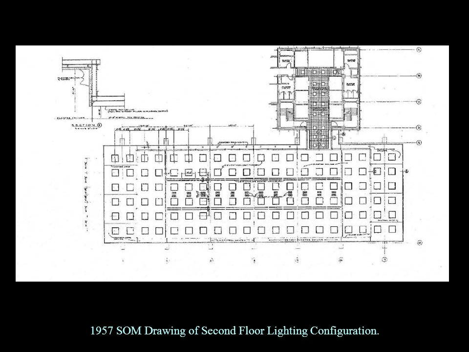 1957 SOM Drawing of Second Floor Lighting Configuration.