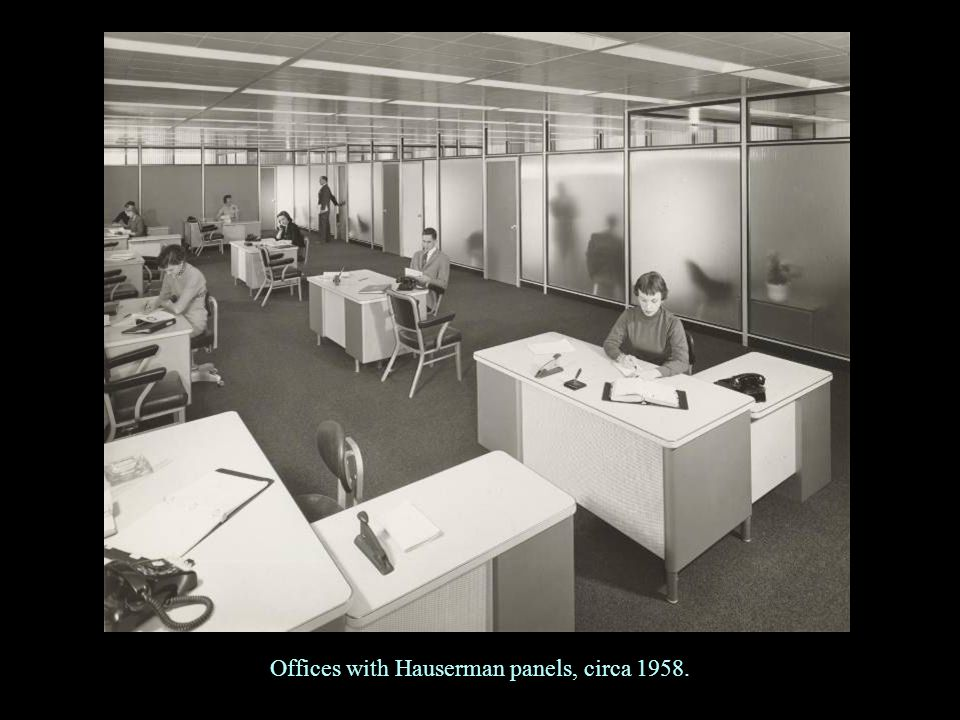 Offices with Hauserman panels, circa 1958.