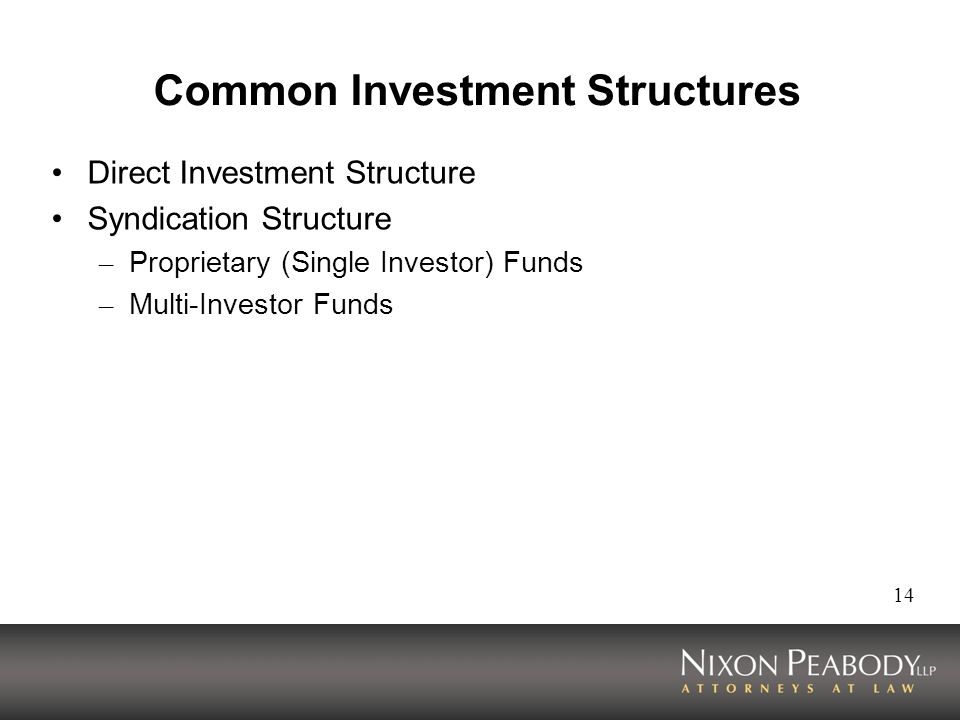 14 Common Investment Structures Direct Investment Structure Syndication Structure – Proprietary (Single Investor) Funds – Multi-Investor Funds