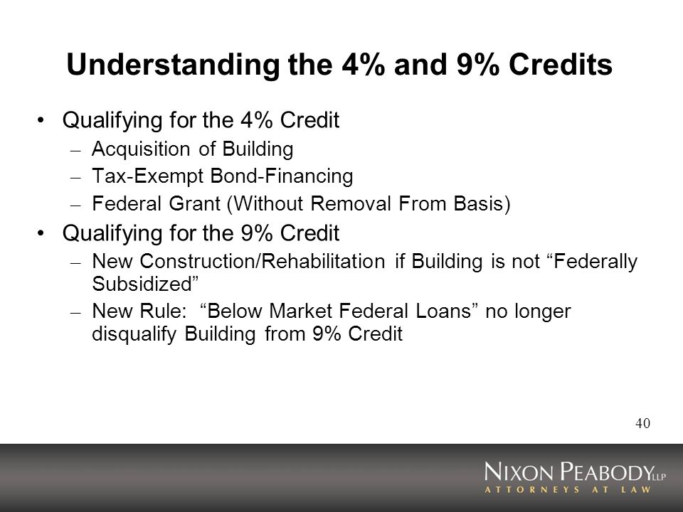 40 Understanding the 4% and 9% Credits Qualifying for the 4% Credit – Acquisition of Building – Tax-Exempt Bond-Financing – Federal Grant (Without Removal From Basis) Qualifying for the 9% Credit – New Construction/Rehabilitation if Building is not Federally Subsidized – New Rule: Below Market Federal Loans no longer disqualify Building from 9% Credit