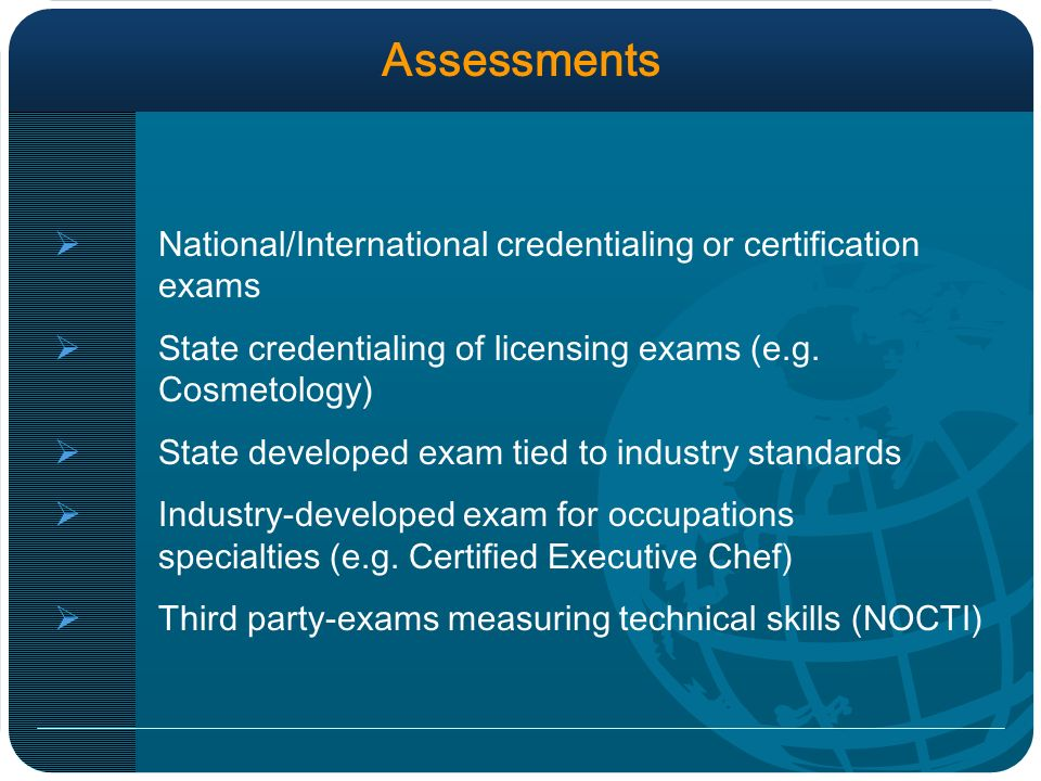 Assessments National/International credentialing or certification exams State credentialing of licensing exams (e.g.