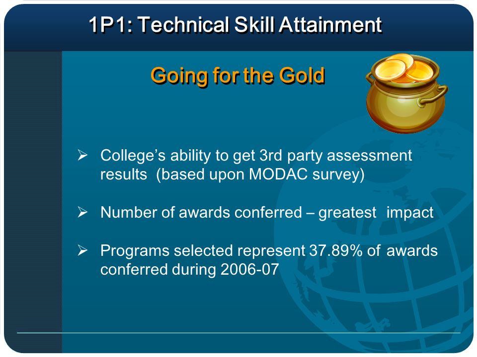 1P1: Technical Skill Attainment Going for the Gold Colleges ability to get 3rd party assessment results (based upon MODAC survey) Number of awards conferred – greatest impact Programs selected represent 37.89% of awards conferred during 2006-07