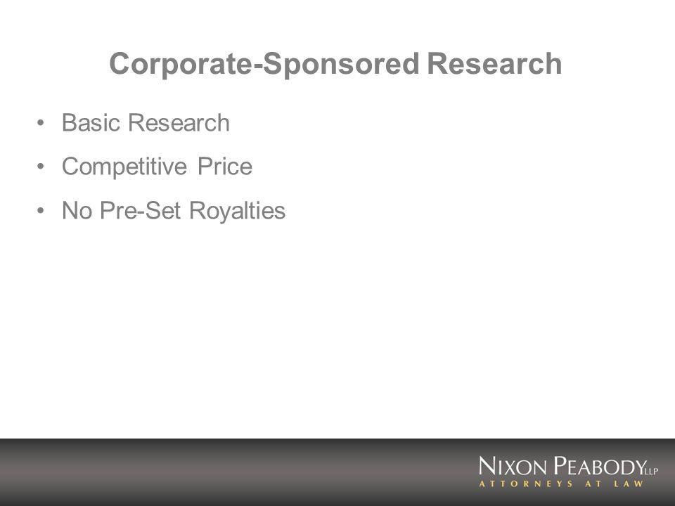 Corporate-Sponsored Research Basic Research Competitive Price No Pre-Set Royalties