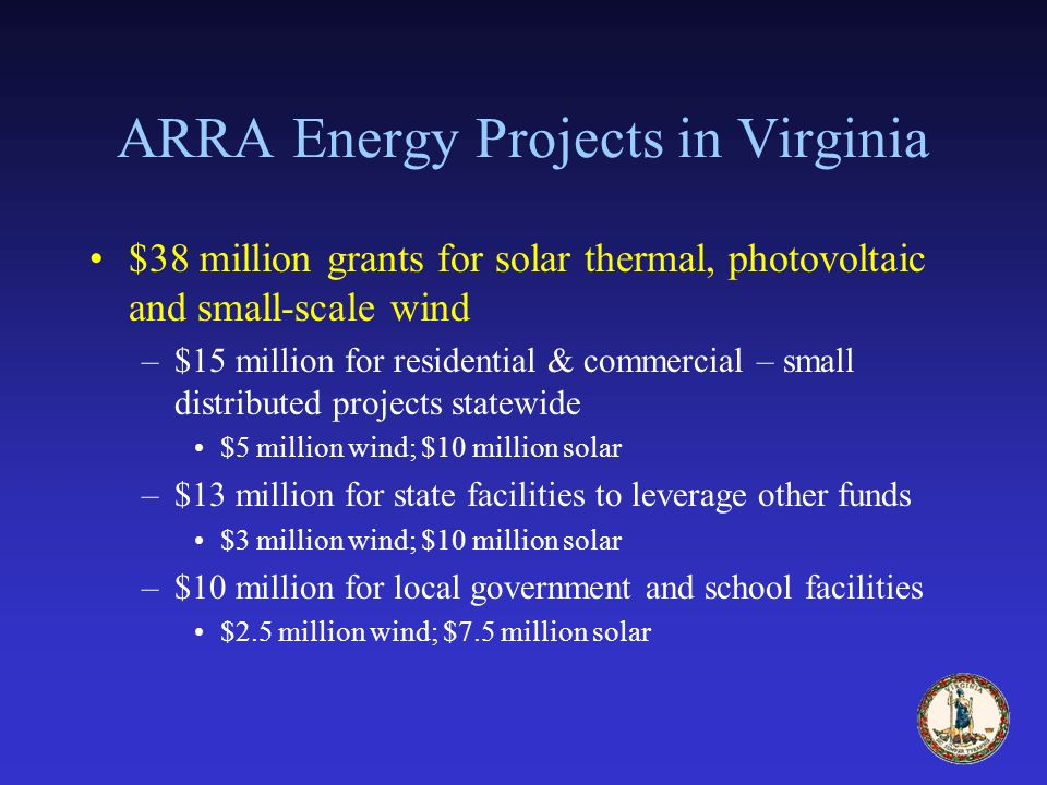 ARRA Energy Projects in Virginia $38 million grants for solar thermal, photovoltaic and small-scale wind –$15 million for residential & commercial – small distributed projects statewide $5 million wind; $10 million solar –$13 million for state facilities to leverage other funds $3 million wind; $10 million solar –$10 million for local government and school facilities $2.5 million wind; $7.5 million solar