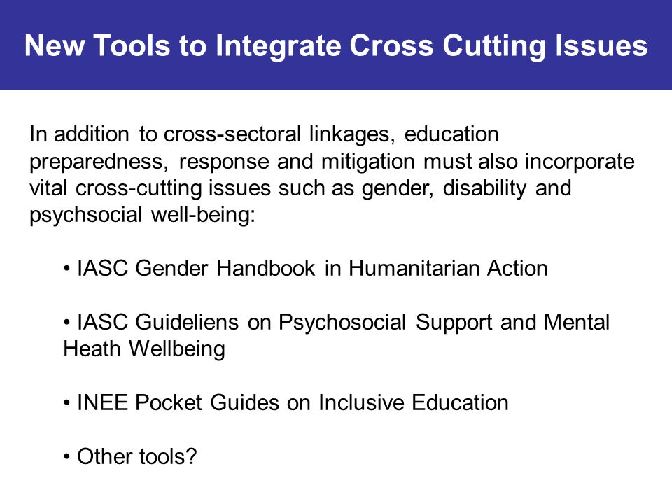 New Tools to Integrate Cross Cutting Issues In addition to cross-sectoral linkages, education preparedness, response and mitigation must also incorporate vital cross-cutting issues such as gender, disability and psychsocial well-being: IASC Gender Handbook in Humanitarian Action IASC Guideliens on Psychosocial Support and Mental Heath Wellbeing INEE Pocket Guides on Inclusive Education Other tools