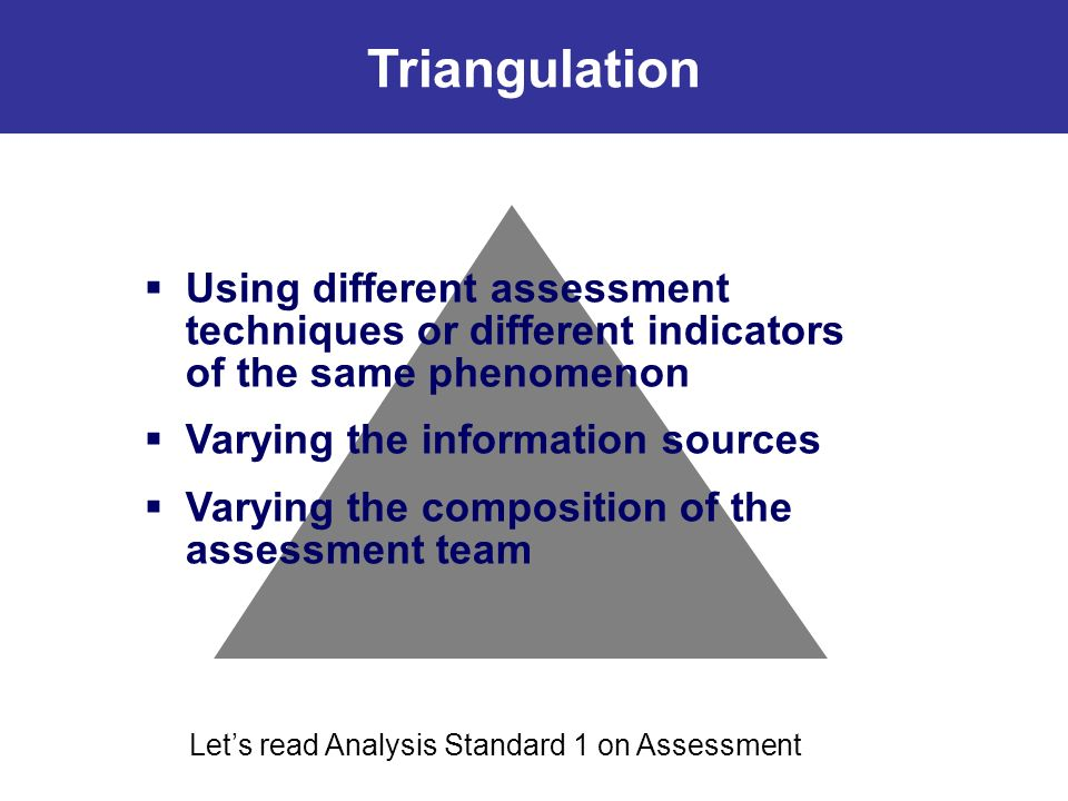 Using different assessment techniques or different indicators of the same phenomenon Varying the information sources Varying the composition of the assessment team Triangulation Lets read Analysis Standard 1 on Assessment Triangulation