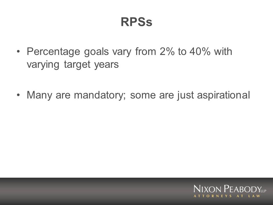 RPSs Percentage goals vary from 2% to 40% with varying target years Many are mandatory; some are just aspirational