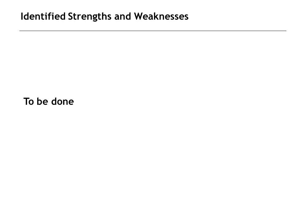 Identified Strengths and Weaknesses To be done