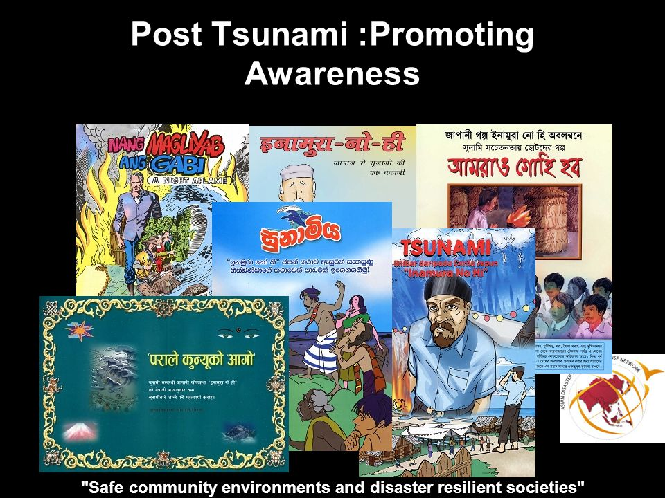 Safe community environments and disaster resilient societies Post Tsunami :Promoting Awareness