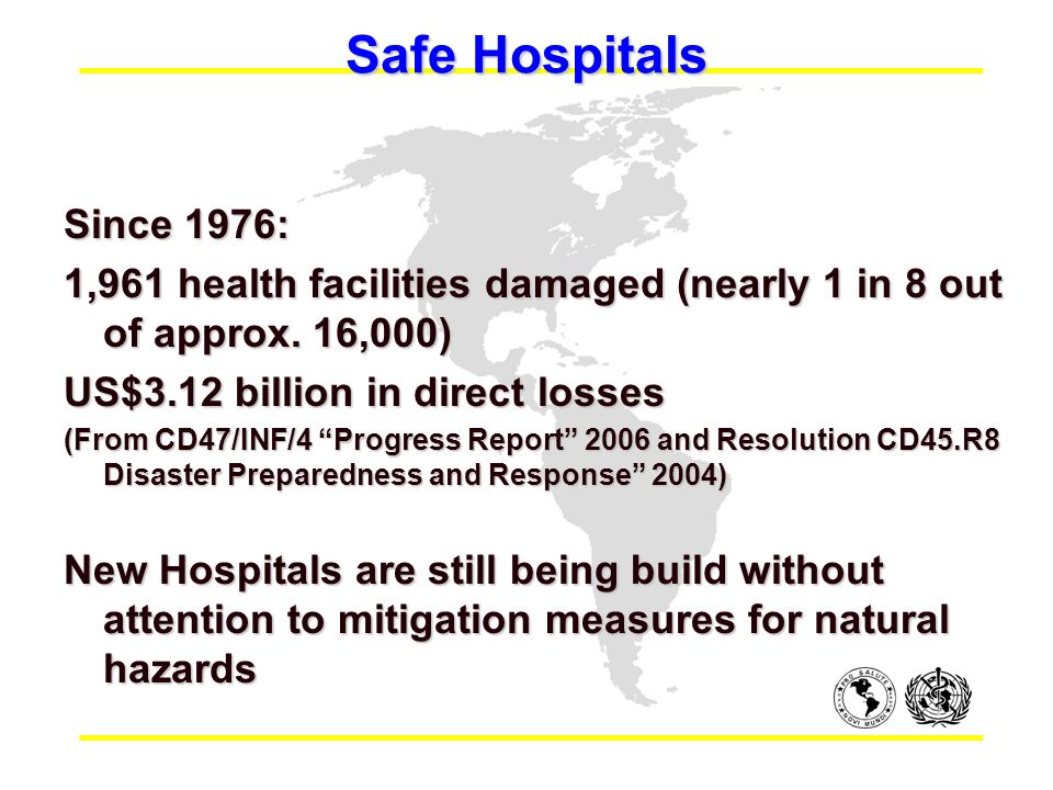Safe Hospitals Since 1976: 1,961 health facilities damaged (nearly 1 in 8 out of approx.