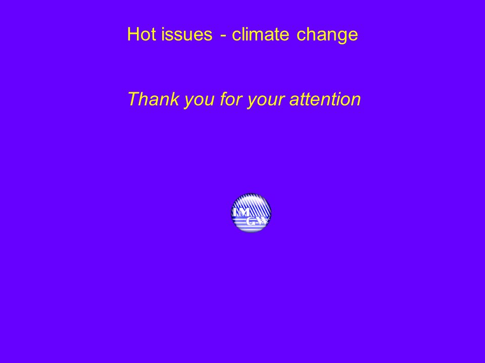Hot issues - climate change Thank you for your attention