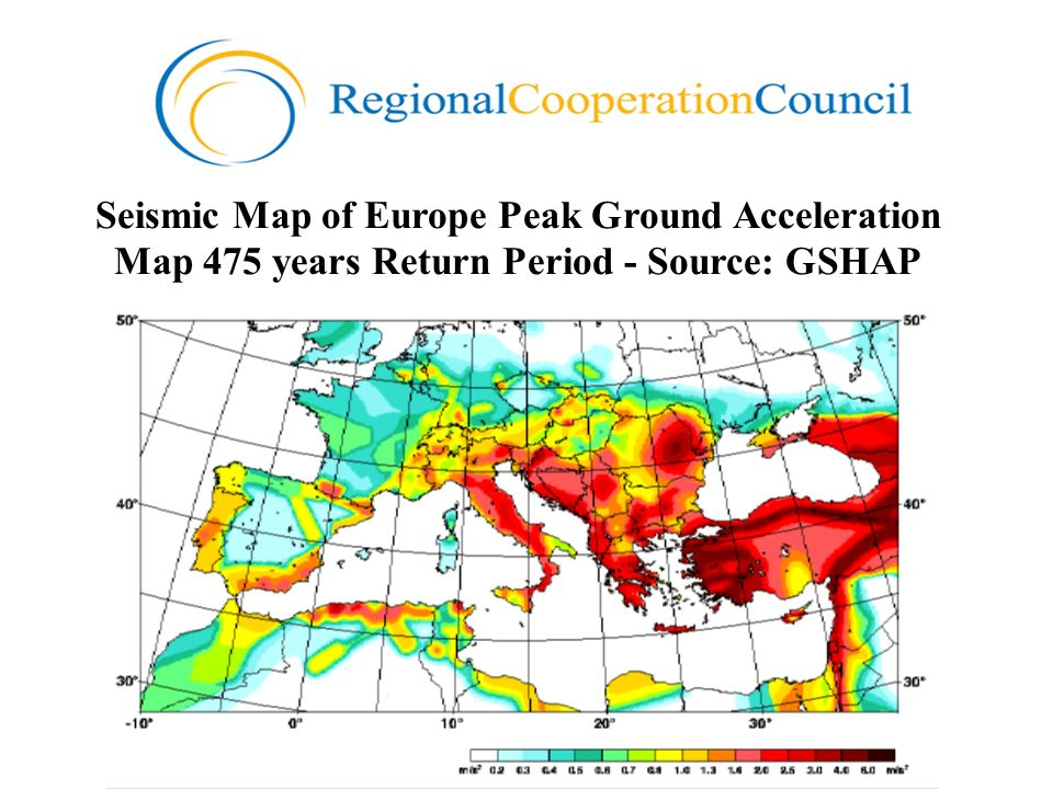 Seismic Map of Europe Peak Ground Acceleration Map 475 years Return Period - Source: GSHAP