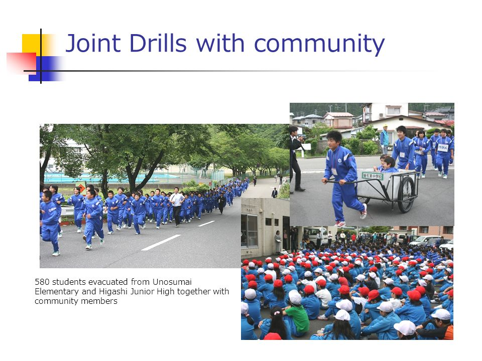 Joint Drills with community 580 students evacuated from Unosumai Elementary and Higashi Junior High together with community members
