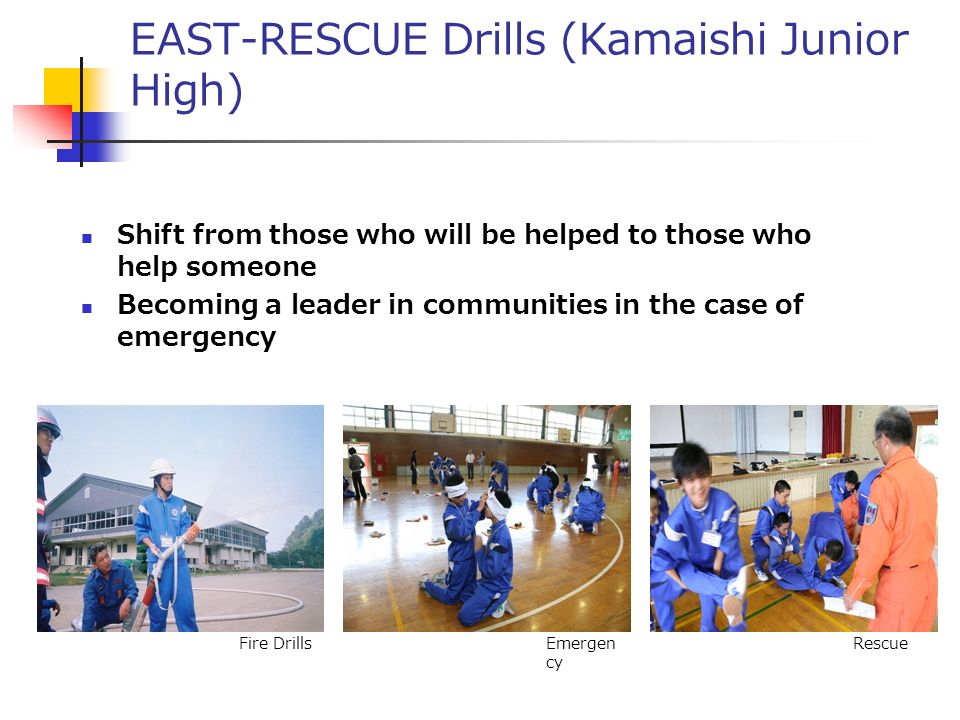 EAST-RESCUE Drills (Kamaishi Junior High) Shift from those who will be helped to those who help someone Becoming a leader in communities in the case of emergency Fire DrillsEmergen cy Rescue