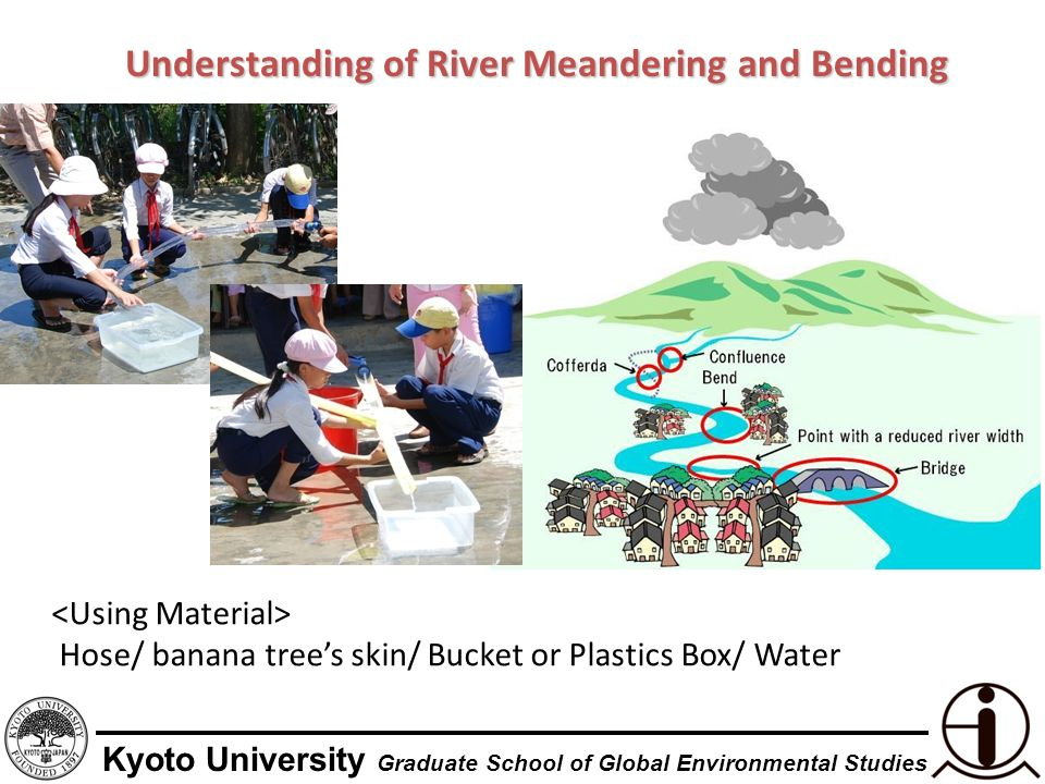 Kyoto University Graduate School of Global Environmental Studies Understanding of River Meandering and Bending Hose/ banana trees skin/ Bucket or Plastics Box/ Water