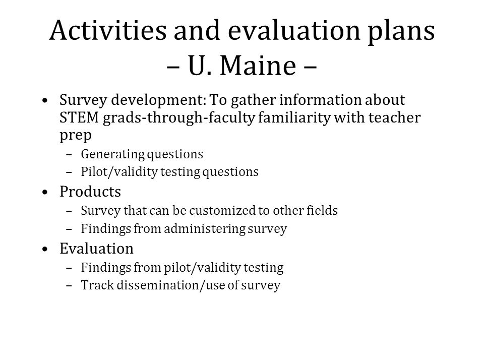 Activities and evaluation plans – U.