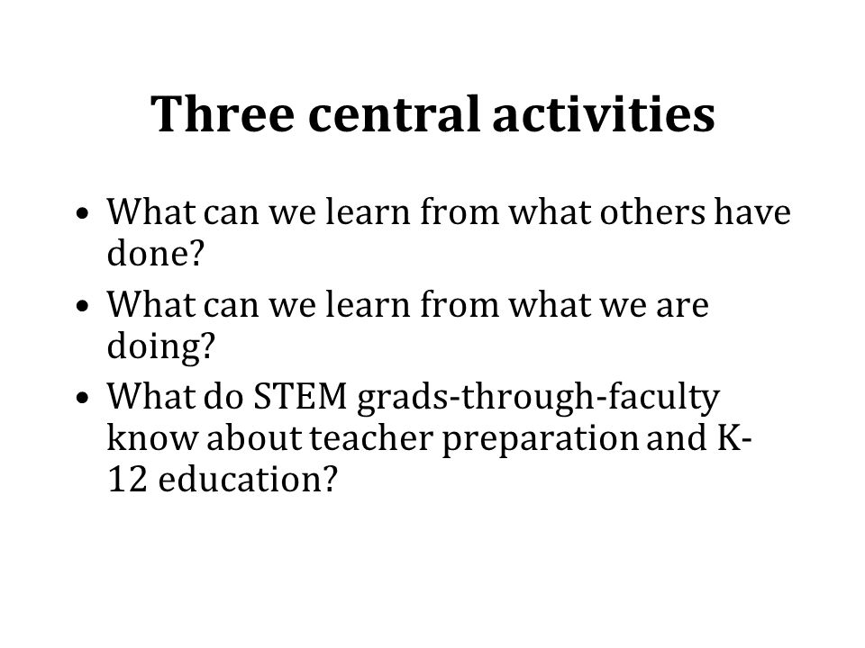 Three central activities What can we learn from what others have done.