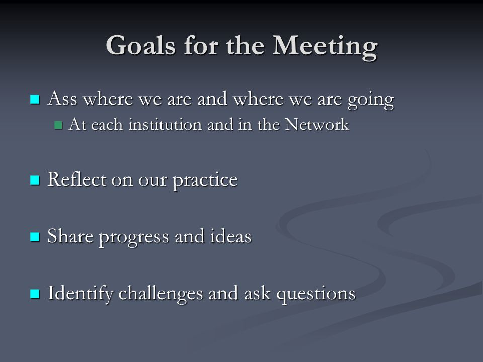 Goals for the Meeting Ass where we are and where we are going Ass where we are and where we are going At each institution and in the Network At each institution and in the Network Reflect on our practice Reflect on our practice Share progress and ideas Share progress and ideas Identify challenges and ask questions Identify challenges and ask questions