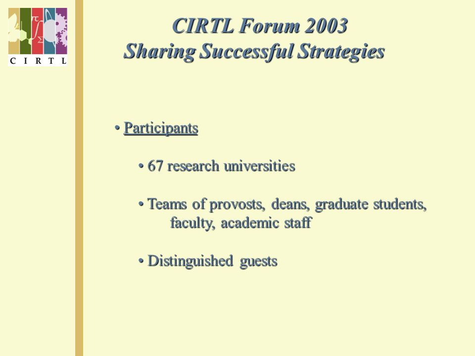CIRTL Forum 2003 CIRTL Forum 2003 Sharing Successful Strategies Participants Participants 67 research universities 67 research universities Teams of provosts, deans, graduate students, Teams of provosts, deans, graduate students, faculty, academic staff faculty, academic staff Distinguished guests Distinguished guests
