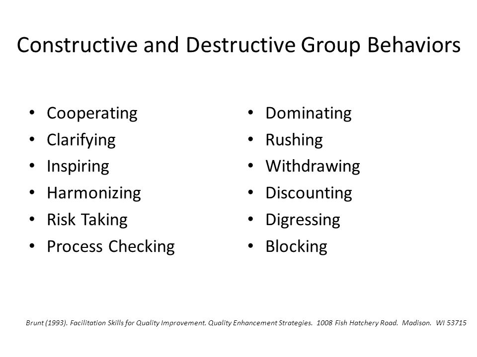 Constructive and Destructive Group Behaviors Cooperating Clarifying Inspiring Harmonizing Risk Taking Process Checking Dominating Rushing Withdrawing Discounting Digressing Blocking Brunt (1993).