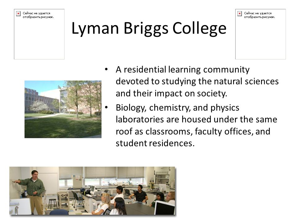 Lyman Briggs College A residential learning community devoted to studying the natural sciences and their impact on society.