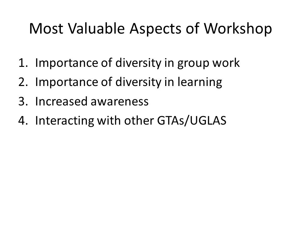 Most Valuable Aspects of Workshop 1.Importance of diversity in group work 2.Importance of diversity in learning 3.Increased awareness 4.Interacting with other GTAs/UGLAS