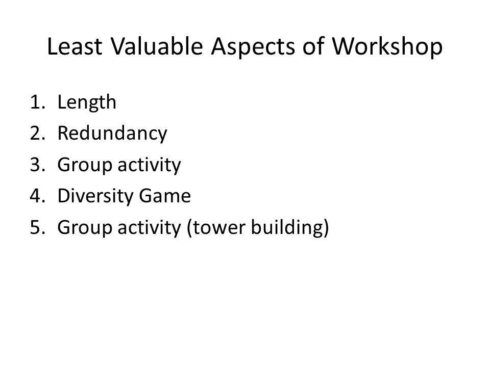 Least Valuable Aspects of Workshop 1.Length 2.Redundancy 3.Group activity 4.Diversity Game 5.Group activity (tower building)