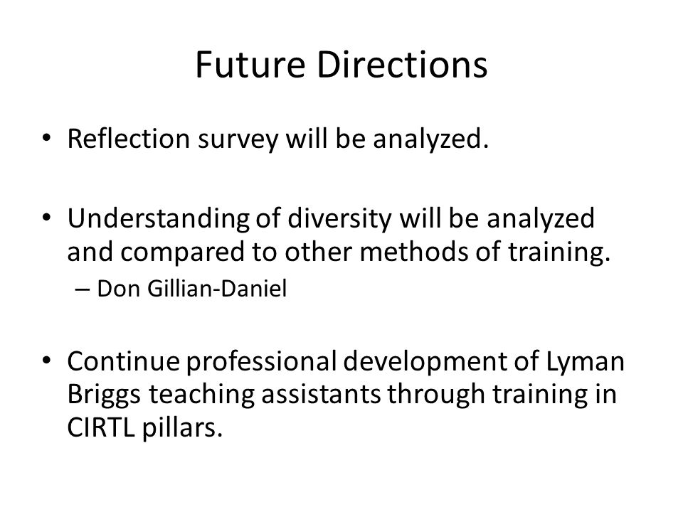 Future Directions Reflection survey will be analyzed.
