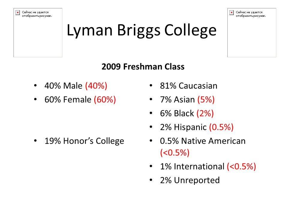 40% Male (40%) 60% Female (60%) 19% Honors College 2009 Freshman Class 81% Caucasian 7% Asian (5%) 6% Black (2%) 2% Hispanic (0.5%) 0.5% Native American (<0.5%) 1% International (<0.5%) 2% Unreported Lyman Briggs College