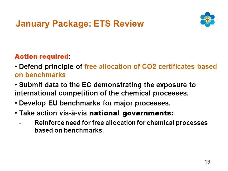 19 January Package: ETS Review Action required : Defend principle of free allocation of CO2 certificates based on benchmarks Submit data to the EC demonstrating the exposure to international competition of the chemical processes.
