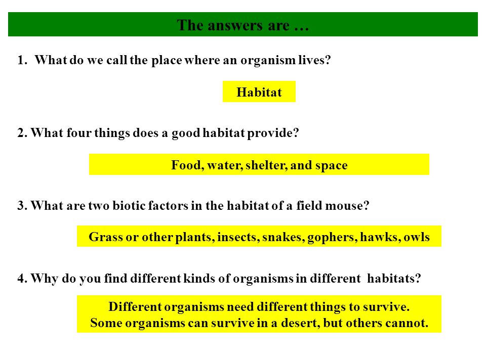 1. What do we call the place where an organism lives.