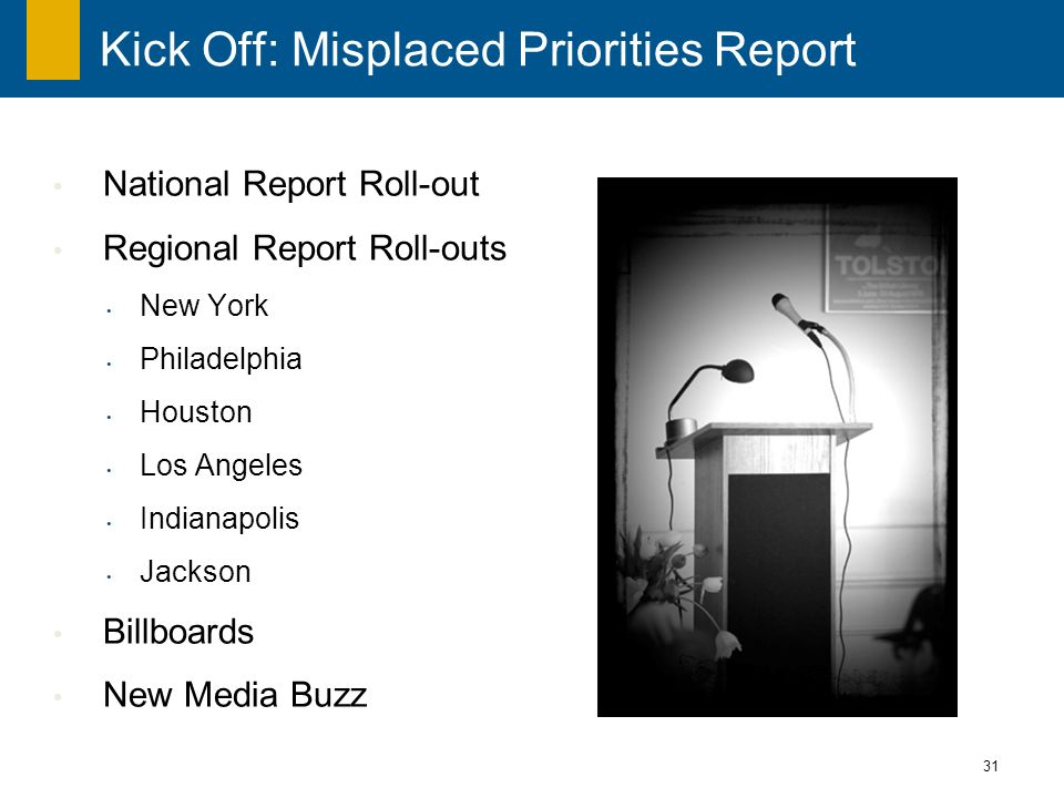 31 Kick Off: Misplaced Priorities Report National Report Roll-out Regional Report Roll-outs New York Philadelphia Houston Los Angeles Indianapolis Jackson Billboards New Media Buzz