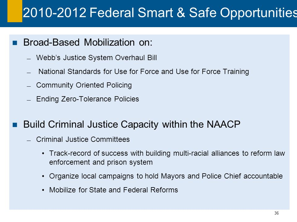 36 2010-2012 Federal Smart & Safe Opportunities Broad-Based Mobilization on: Webbs Justice System Overhaul Bill National Standards for Use for Force and Use for Force Training Community Oriented Policing Ending Zero-Tolerance Policies Build Criminal Justice Capacity within the NAACP Criminal Justice Committees Track-record of success with building multi-racial alliances to reform law enforcement and prison system Organize local campaigns to hold Mayors and Police Chief accountable Mobilize for State and Federal Reforms